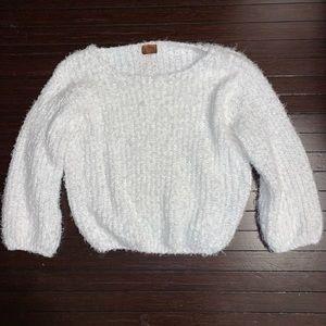 POL white fuzzy oversized sweater